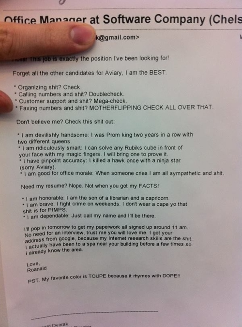 The Best Cover Letter Ever