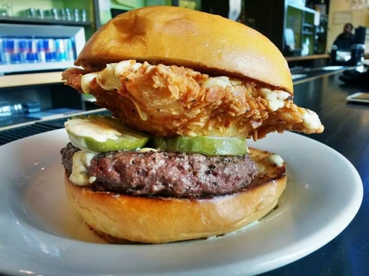 Deep Fried PBR Beer Burger